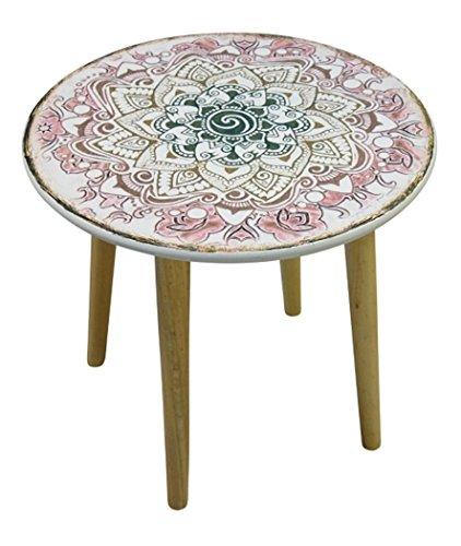 elbmöbel Beistelltisch Couchtisch Paisley Mehrfarbig Weiß Braun Rund Tisch aus Holz im Shabby Chic Look Vintage Durchmesser Ø 50cm Körbe Nussbaum