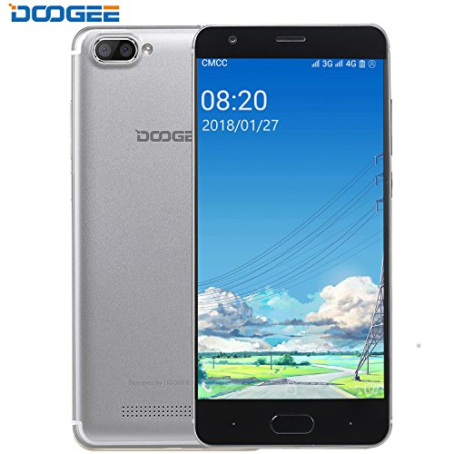 Mobile Phones 4G Unlocked, DOOGEE X20L Cheap Dual SIM Free Smartphones, 7.0 Android Phone with 5 Inch HD IPS screen - 2GB RAM+16GB ROM - MT6737 4xCortex-A53 - Dual 5.0MP Rear Camera - Silver