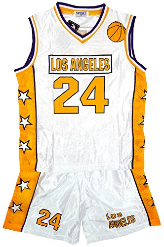 Boys Los Angeles LA Basketball Sport Vest Top & Shorts Set Sizes from 3 to 14 Years