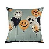 NiceButy Happy Halloween Throw Couvre Oreiller en Coton Lin Coussin décoratif Cas de Couverture avec Element Floral Ballon de Citrouille Taie d'oreiller (Bottom Bleu) Festival passionnant