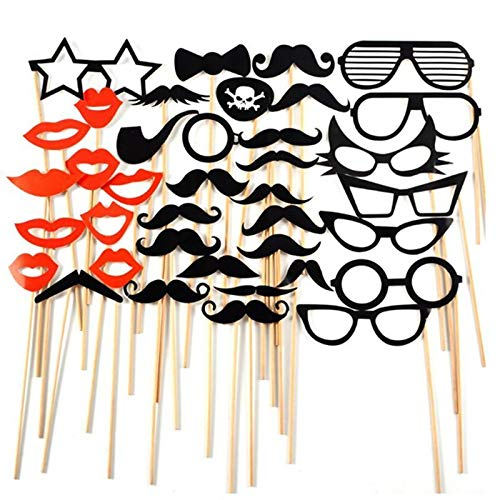 HITSAN INCORPORATION 2018 New 38Pcs Wedding Decoration Photo Booth Props Funny Glasses Mustache Birthday Party Supplies Photobooth