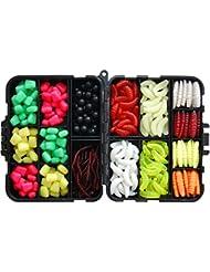 JSHANMEI ® 220PCS/Box Carp Fishing Tackle Box Artificial Plastic Fake Baits Sweetcorn/Beads/Worm Lures Imitation Baits Carp Fishing Gear Kit by JSHANMEI