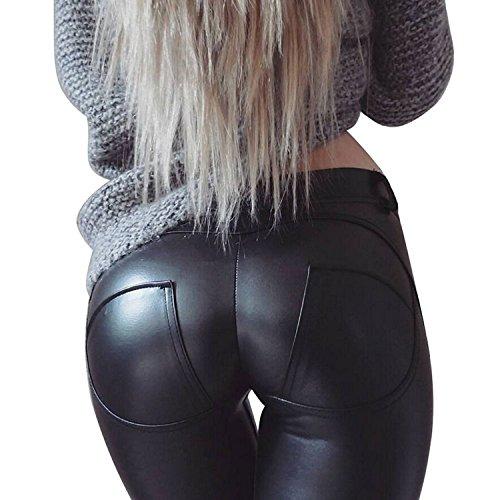 LANOMI Damen Lederhose Stretch Skinny Leggings Kunstleder Hose Leggins DE34-46 (Asian M/DE 36)