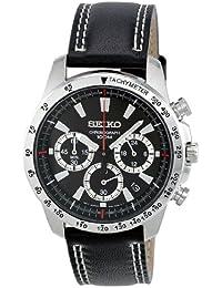 Seiko SSB033P1 - Reloj analógico de cuarzo para hombre con correa de acero inoxidable, color negro