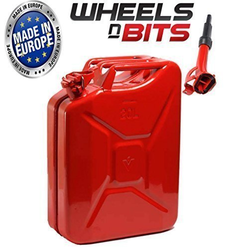 Wheels N Bits NEW 20 LITRE RED JERRY MILITARY CAN FUEL OIL WATER PETROL DIESEL STORAGE TANK WITH SPOUT