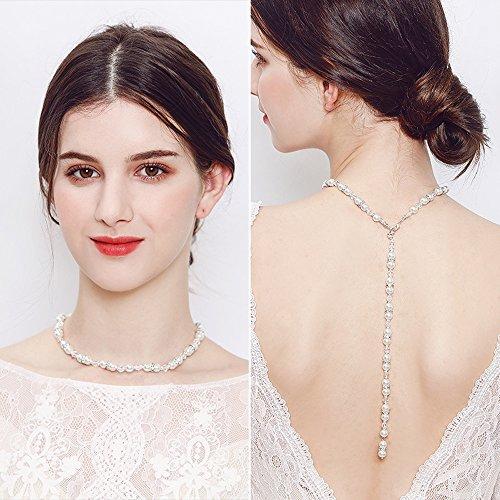 FXmimior Brautschmuck rückenfreies Kleid mit offener Rückseite, Perlenhalskette, Brautschmuck, Perlenkette für Damen