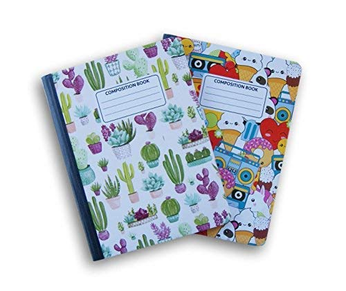 Kaktus und behandelt gemustert breit liniert 100Blatt Zusammensetzung Notebooks-(Pack von 2) (Zusammensetzung Bulk In Notebooks)