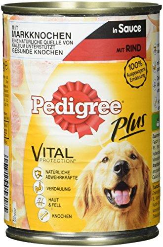 Pedigree Hundefutter Nassfutter Plus Markknochen und Rind in Sauce, 12 Dosen (12 x 400g)