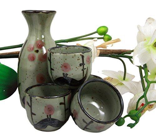 Atlantic Sammlerstücke Japanische 142ml Keramik Matcha Cherry Blossom Sake-Set Fläschchen mit vier Tassen Made in Japan Cherry Blossom Sake Set
