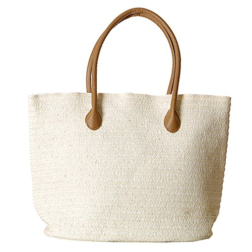 Butterme Borsa di tela della borsa della spalla della spiaggia della spiaggia di estate della spiaggia della spiaggia di estate della spiaggia della spiaggia di Rattan bianca