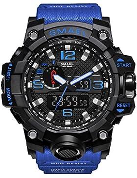 Amstt Herren Digital Analog Sportuhr Wasserdicht Armbanduhr LED Digital Uhr mit Stoppuhr für Männer (Blau Band)