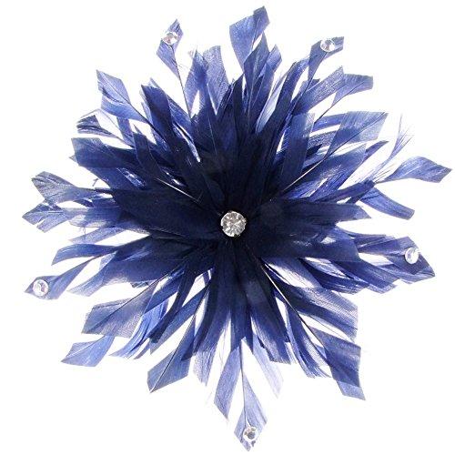 Lima décoré Bibi avec plumes sur peigne en bleu marine (e7208nvy)