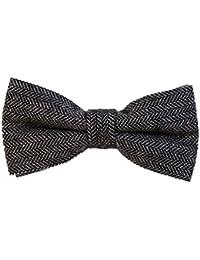 DonDon Herren Fliege 12 x 6 cm kariert gebunden und stufenlos justierbar aus Baumwolle im Tweed Style