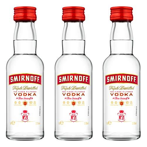 Smirnoff Red No. 21 Premium Vodka Triple Destilled, 3er, Wodka, Alkohol, Alkoholgetränk, Flasche, Miniatur, PET, 40%, 50 ml, 724617 -