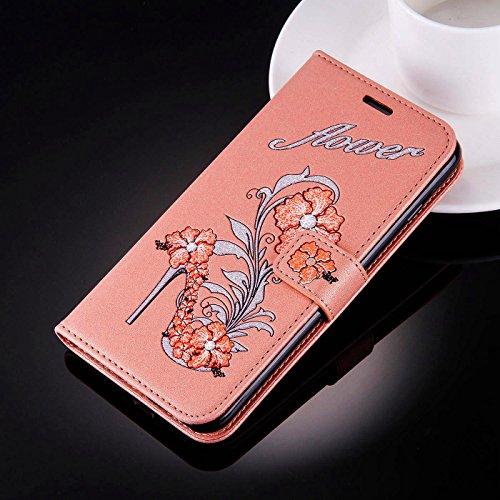 iPhone 5SE Bling Hülle,iPhone 5/5S Flip Hülle,TOYYM Luxus Bling Glitzer 3D High Heel Muster Design Ultra Dünn PU Leder Stand Flip Wallet Magnet Brieftasche mit Kartenfach Innere Silikon Schutz Hülle,B Orange