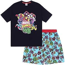 Marvel - Pijama friki Corto Hombre - Producto Oficial - Negro - Mediana