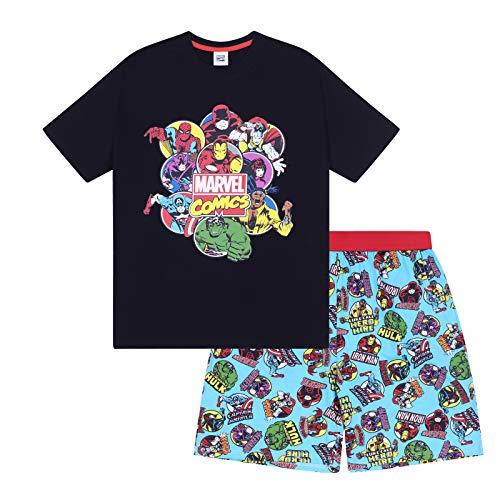 Marvel Comics - Herren Schlafanzug - kurz - mit Hulk, Spiderman und Iron Man - Offizielles Merchandise - Schwarz - S