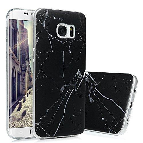 S7 Edge Marmor Hülle, KASOS Marble Handyhülle : Silikon Case Weich TPU Huelle mit IMD Technologie für Samsung Galaxy S7 EdgeSchwarz