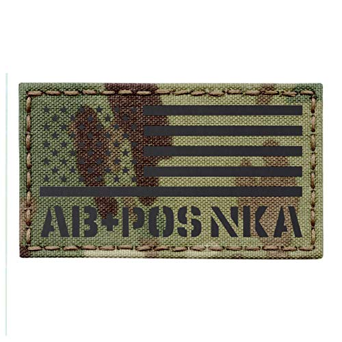 IR Multicam USA Flag ABPOS AB+ Blood Type NKA NKDA Infrared Tactical Morale Hook-and-Loop Patch