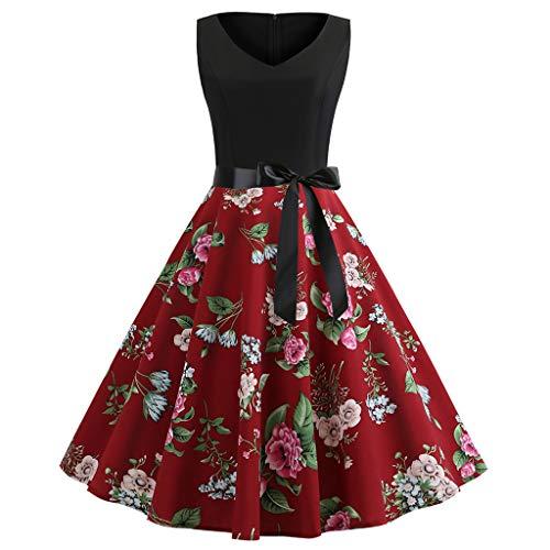 TUDUZ Robe De Bal Polka Vintage Pin-Up à 'Audrey Hepburn' 50's 60's Rockabilly Rétro Robe Vintage Années 1950 Style Audrey Hepburn Imprimé Robes De Fête Élégante(Y-Rouge,EU-34/CN-S)