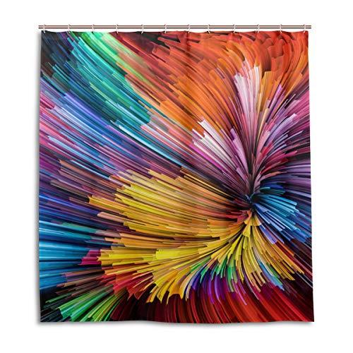 CPYang Duschvorhänge Dynamic Rainbow Color Serie Wasserdicht Schimmelresistent Badvorhang Badezimmer Home Decor 168 x 182 cm mit 12 Haken - Rainbow Dynamic-serie