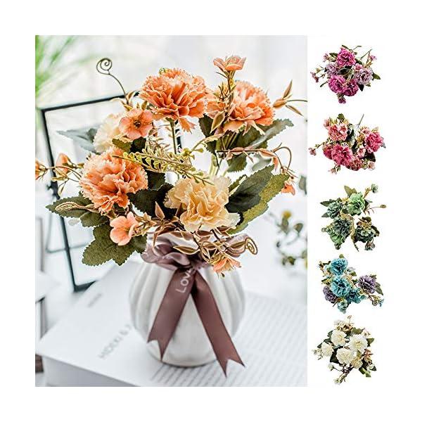 zmigrapddn 1 Unidad de 5 Ramas de Flores Artificiales Coloridas para decoración de claveles para restaurantes, hoteles…
