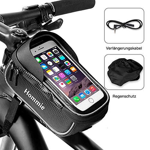 Hommie Wasserdicht Fahrradlenkertasche, Handyhalterung, Fahrrad Tasche, Handyhalter mit Kopfhörerloch, Fahrradtasche, Rahmentaschen für Handy GPS Navi und andere Edge bis zu 6 Zoll Geräte, Schwarz