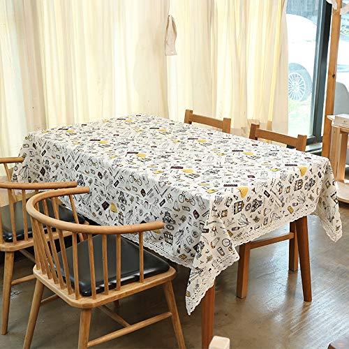 Baumwolle Und Leinen Wasserdichte Tischdecke Nordic Gitter Ins Wind Tee Tisch Picknick Tischset Kleine Frische Schreibtischdecke Kleines Mädchen (Nicht Wasserdicht) 130X180 Cm (Baby-dusche-papier-tischsets)