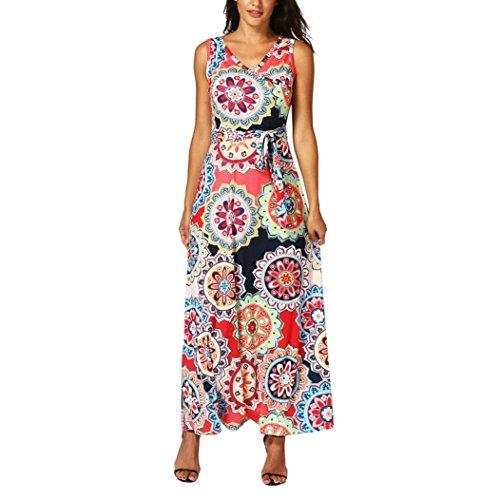 Honestyi Damen Maxikleider Sommerkleider vintage Boho Blumen Kleid Neckholder Printkleider Partykleider Strandkleider Minikleid Große Größe S-XXL (M, U-Rot) (Blume Kleid Besonderen Anlass)