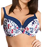 Ava SK-23 Underwired Padded Bikini Top Sailor Stule (Matching Bottoms Available) - Made In EU, white-dark blue,30DD
