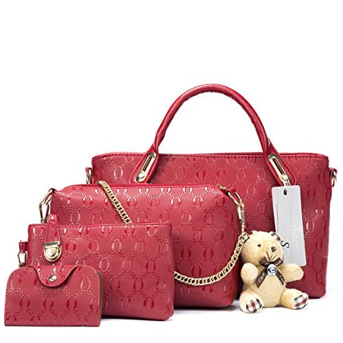 Satchel Schultertasche Handtasche (Soperwillton Damen Handtasche top Griff Satchel Schulter Tasche Handtasche 4pcs groß rot)