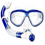 Mpow Set Snorkeling, Asciutto Snorkel Top Set con Maschera Diving in Vetro Temperato e Snorkel Asciutto, a Tenuta Stagna e un pezzo di Lente del Telaio, Lenti in Vetro Temperato Cibo-Grade Gonna in Silicone e Bocchino-Blu