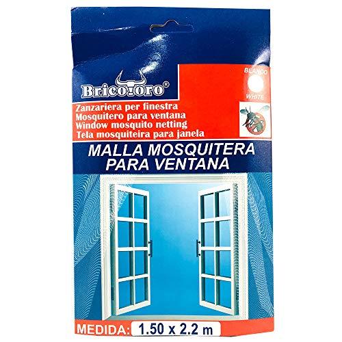Bricotoro Mesh Moskitonetz für Fensterschutz gegen Insekten Mücken Schädlinge Fliegen (150x220cm, Weiß)