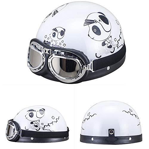 Preisvergleich Produktbild GZH Mode Coole Elektrische Batterie Motorrad Helm Männer Und Frauen Niedlichen Halben Helm Leicht Mit Schal Warmen Helm Vier Jahreszeiten Universal, White
