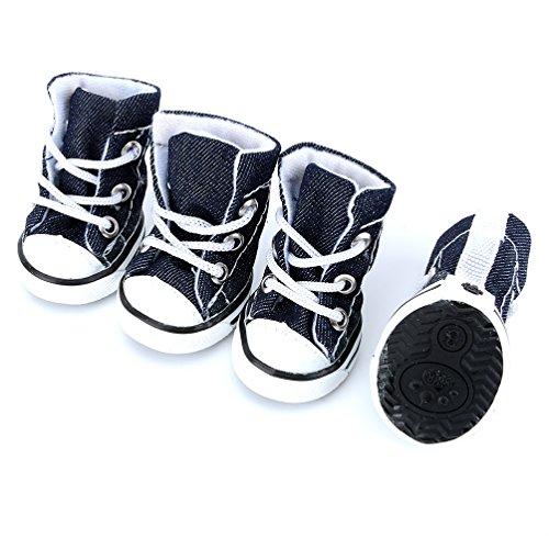 Pegasus Spitze bis Denim Canvas Sneaker sportliche Hund Schuhe rutschfeste Sohle Sommer, für Klein Hund Katze Puppy (Bootie Front Strap)