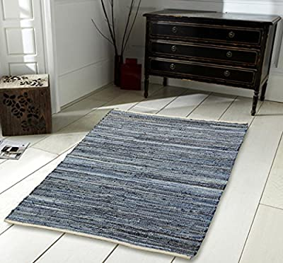 100% Recycled Cotton Handmade Denim Chindi Floor Rug produced by Elite Housewares - quick delivery from UK.