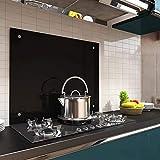 Melko Écran de protection anti-projection en verre - Panneau de cuisinière - Verre trempé de sécurité de 6 mm - Fond mural avec matériel de fixation inclus., Verre, Noir , 90 x 60 cm