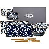 Tokyo Design Studio Fleur de ligne Blue & White Sushi Set complet–8pièces–pour 2personnes–2Sushi Assiettes, 2Bols, 2Bols riz en porcelaine de haute qualité avec 2Paire. Baguettes en bambou–Passe au lave-vaisselle et au micro-ondes–Présenté dans une jolie boîte cadeau
