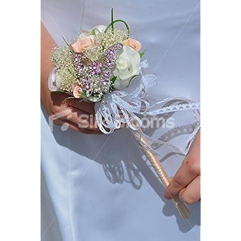De melocotón y marfil rosa de la boda de la muchacha de flor varita w/rosa broche de mariposa de cristal