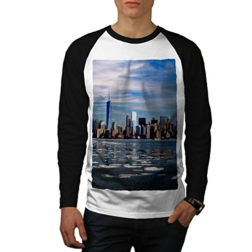 USA Neu York Stadt Mode Stadt Fluss Men S Baseball LS T-shirt | Wellcoda (Fluss-baseball-jersey)