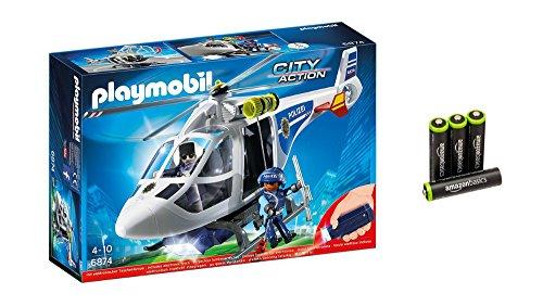 PLAYMOBIL 6874 - Polizei-Helikopter mit LED-Suchscheinwerfer und AmazonBasics vorgeladenen AAA-Akkubatterien, 4er Pack