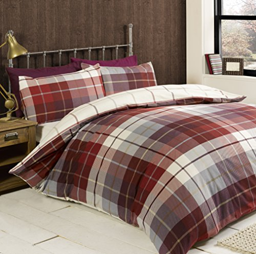Rapport Lomond Check 100 Percent Brushed Cotton Duvet Set, Red, Double