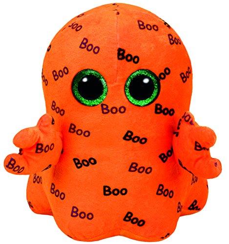 Carletto Ty 37079 Ghoulie Geist mit Glitzeraugen, Glubschi's, Beanie Boo's, Halloween limitiert, Plüsch, 24 cm, orange