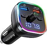 VicTsing Transmetteur FM Bluetooth, QC3.0 Adaptateur Bluetooth Voiture Double USB pour Chargeur Rapid, Bluetooth V5.0 Sans Fil avec Appel Main Libre, Support Carte TF/Clé USB, 6 Lumières Colorées
