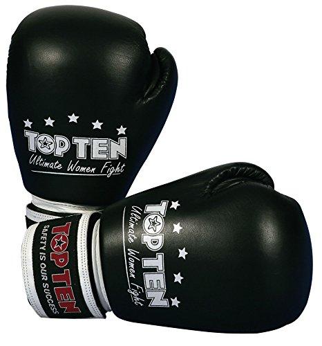 TOP TEN Damen Boxhandschuhe, Schwarz, 10 (Top-10-boxhandschuhe)