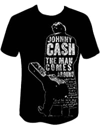 af2f5b639c76b Johnny Cash Mens Short Sleeve T-Shirts Man Comes Around Official  Merchandise Large