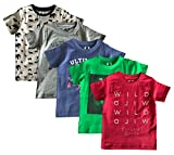 #8: ELK Little Master Kids Boy's Round Neck Printed Half sleeve 100% Cotton Half White Grey Blue Green and Red 5 Piece Combo