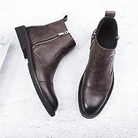 Hombres de la moda casual Boots botas botas todo partido Vintage Chelsea Martin,Treinta y ocho,Brown