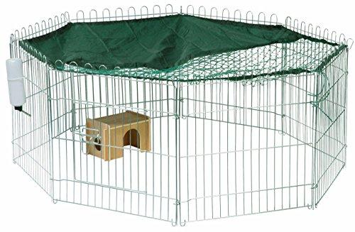 dobar 80606 8-eckiges XL Freilaufgehege groß, Kaninchengehege aus Metall mit Nylon Netz, Holz Häuschen und Trinkflasche, für Outdoor wetterfest, 135 x 135 x 56 cm, silber