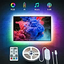 LED TV Backlight 3M, Govee LED Strip Light for 40-60 Inch TV, Music Sync USB Powered LED Strip Lighting Kit with Remote for TV Television PC Monitor, Bias Lighting with 3M Tape and 5 Support Clips